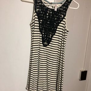 Lace top black and white maxi dress